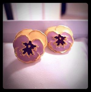 Vintage Avon Earrings-Pansies
